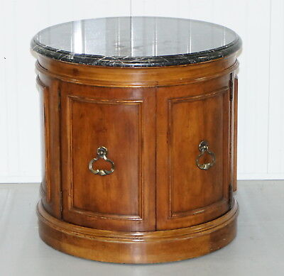 Regency Style Mahogany Marble Topped Large Drum Table Cupboard Side End Wine