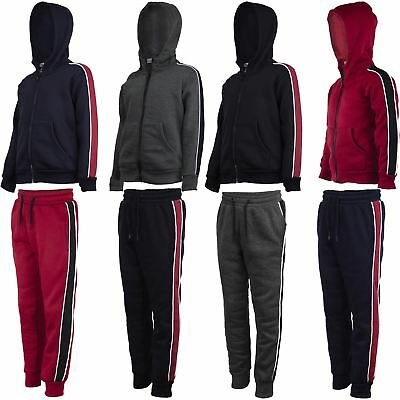 Kids Side Striped Outfit Boys Inner Fleece Girls Hooded Top or Joggers 3-14Years