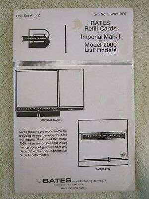 Bates Refill Cards For Imperial Mark I Or Model 2000 List Finders