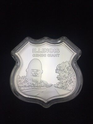 Route 66 1 Troy Ounce Illinois Gemini Giant Shield Sign (10) (C1B3)