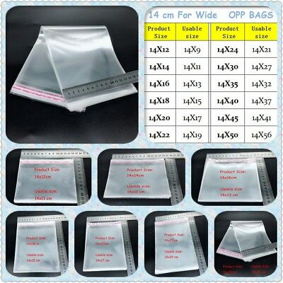 NEW Clear Resealable Cellophane Bags Self-adhesive Sealing Treat OPP Plastic Bag