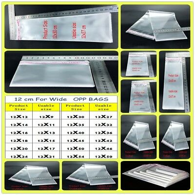 12cm Self Adhesive Clear Poly Plastic Bags Resealable Packing Cellophane OPP Bag