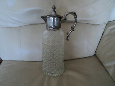 Large Antique Glass Claret Jug with Silver Plated Top