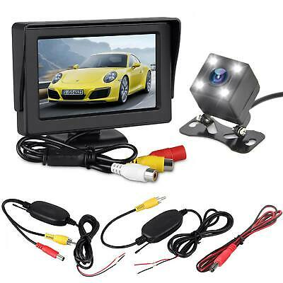 Wireless Car Rear View Kit Reversing Camera Night Vision + Fold 4.3 LCD Monitor