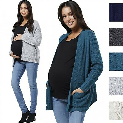 Chelsea Clark Women's Maternity Nursing Textured Cardi Sweater Buttonless 920p