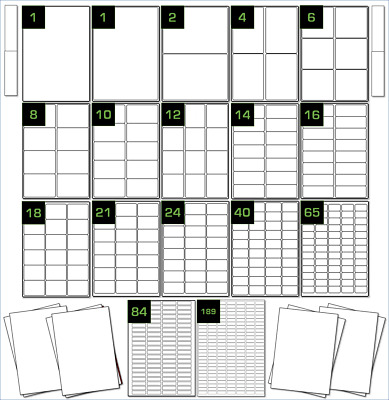 20 Sheets of A4 Printer Labels Choice of Gloss Inkjet, Coloured, Neon White Poly