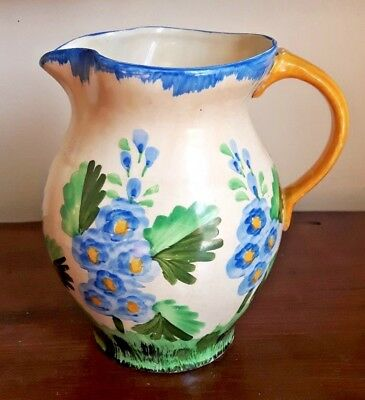 Vinatge Art Deco Hancocks Ivory Ware Hand Painted Floral Pitcher Jug
