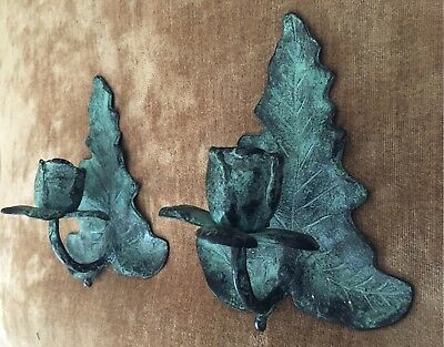 Pair Of Pier One Cast Iron Rustic Leaf Candle Sconces Antique Green Finish