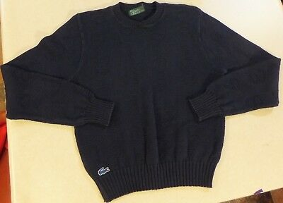 Vtg Izod Lacoste For Her Youth Girls Navy Blue Sweater W/ Numbers Size L Cotton