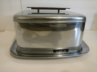 vintage retro chrome lincoln beautyware cake carrier w/locking lid