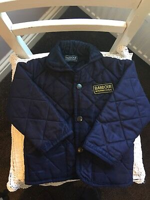 Barbour navy blue boys jacket padded quilted 18 month