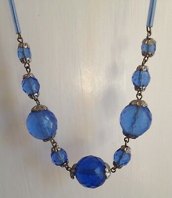 Vintage Antique Art Deco Blue CZECH GLASS NECKLACE faceted crystal 1930s