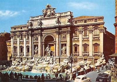 Italy Roma The Fountain of Trevi Fontana di Trevi Vintage Cars Voitures