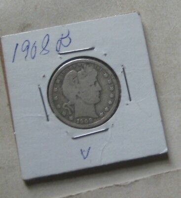 854Th-1 1908 D  Barber Quarter, Rim Is Not Worn Into The Letters On Reverse Of