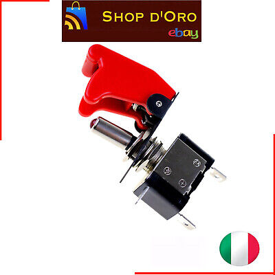 Interruttore Aeronautico Tuning Auto Moto Kill Switch Led Rosso Sicura 12V