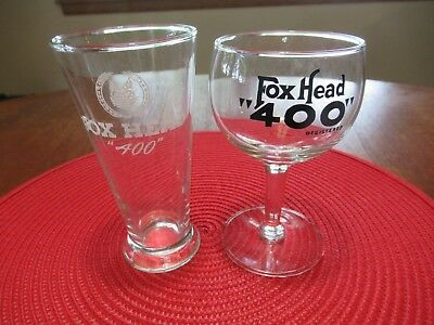 "Fox Head ""400"" Beer Glasses Waukesha, Wisconsin"