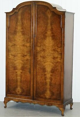 Stunning Hand Made In England Flamed Walnut Wardrobe Inside Mirror Cabriolet Leg