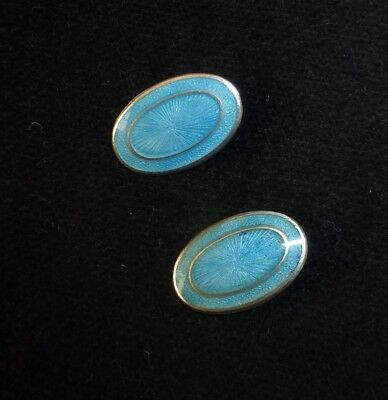 Pair Of Beautiful Light Blue  Guilloche Enamel Antique Buttons - Silver England