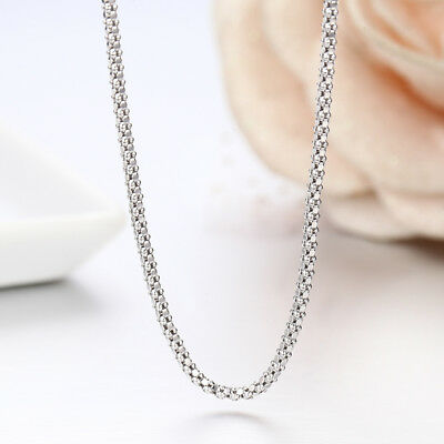 1.8MM Solid 925 Sterling Silver Italian POPCORN CHAIN Necklace Italy 925 Stamped