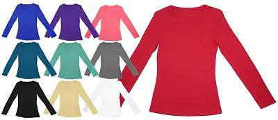 Womens Top Long Sleeve T-Shirt Scoop Neck Ladies Cotton Tee Size 10 to 24