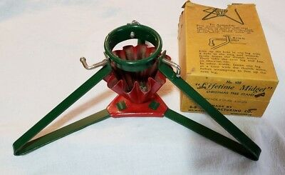 Vintage Christmas METAL Tree Stand S-B Manufacturing Co WITH ORIGINAL BOX !!