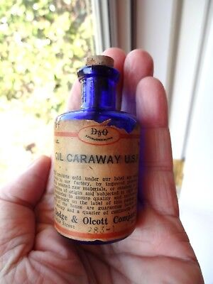Antique Cobalt Blue Glass Pharmacy Bottle Caraway Oil 3 Inches Tall