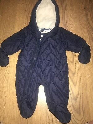 next first size padded snowsuit navy