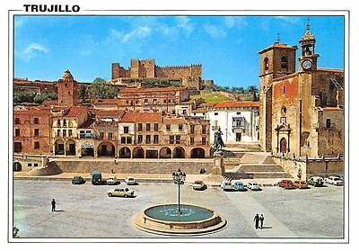 Spain Trujillo (Caceres) Plaza Mayor Square Statue Cars Voitures