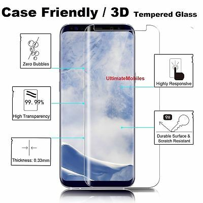 New 3D Samsung Galaxy S8 PLUS 100% Genuine Tempered Glass Screen Protector Clear