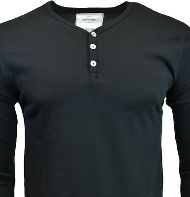 Mens Long Sleeve S M Henley Shirt Slim Fit Casual Top 3 Buttons 100/% Cotton NEW