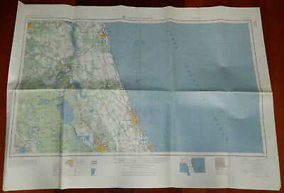 Vintage Nautical Land Map Daytona Beach 1958 US Army Corps of Engineers 34x25