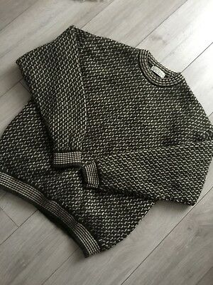 Vintage 80s pure new wool khaki green pattern christmas ugly jumper M