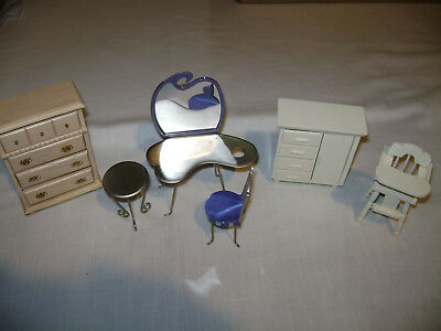 Dollhouse Furniture Nursery High Chair Chest Bedroom Vanity Chair Chest  Table