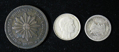 Lot of 3 Uruguay 2, 10 Centesimos 1869, 1893 & 1942 20 Centimes 2 are silver