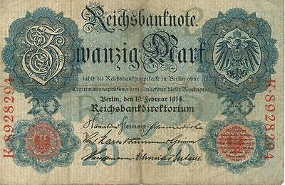 Authentic 20 Reichsbankmark note from Germany 1914 German Empire, 216
