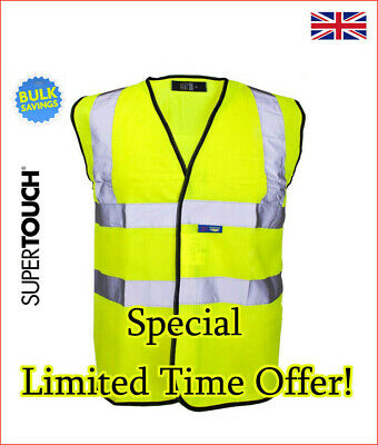 Hi Vis High Vis Visibility Vest Waistcoat Safety EN ISO 20471 Supertouch Yellow