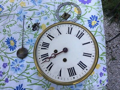 Antique Napolian III Picture Frame French Pendulum Clock 1800s Movement
