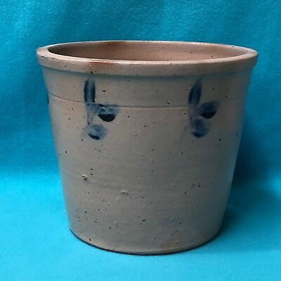 Antique Gray Crock with Blue Flowers and Family History