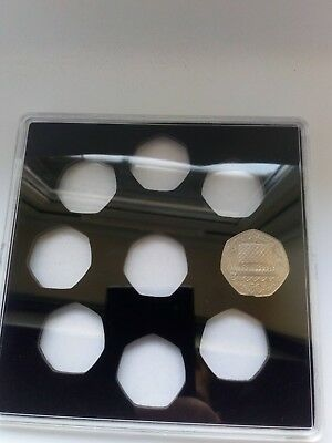 NEW! ACRYLIC COIN DISPLAY CASE FOR OLD (Large) 50p coins (9 slots)!