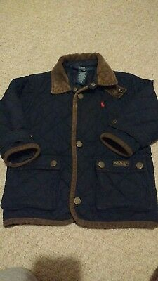Polo Ralph Lauren Quilted Jacket Baby infant Boy 24m Navy Blue vgc