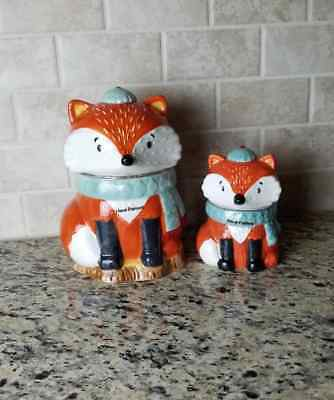 Fox Cookie Jar & Fox Candy Jar Set 100% Ceramic Earthenware