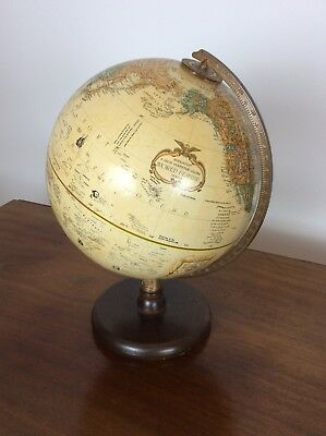 Vintage Replogle Globe World Classic Series with Relief 9 inch Hardwood  Base