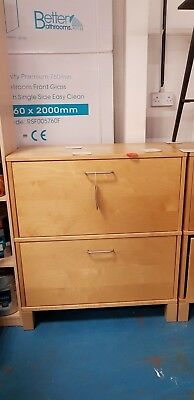 Two Drawer Wooden Filing Cabinet with Metal Inner