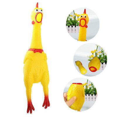 Screaming Rubber Chicken Squeeze Shrilling Pet Dog Bite Toy Chewing Squeaker PVC