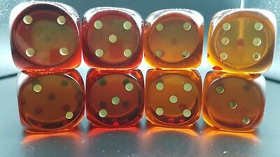 3,4 cm Old Bakelit Faturan German dice cubes cherry amber