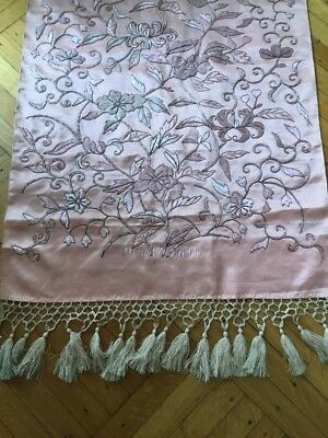 Antique vtg Silk French Metallic lace Embroidered Victorian Piano Runner shawl