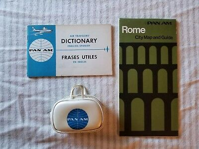 Vintage Pan Am Airline Advertising Lot Dictionary, Rome Map & Guide Change Purse