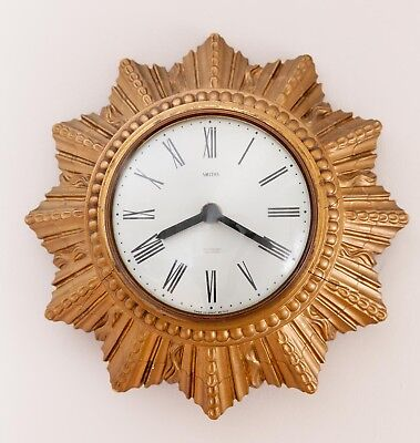 Vintage retro 1960s Smiths Sectronic sunburst wall clock