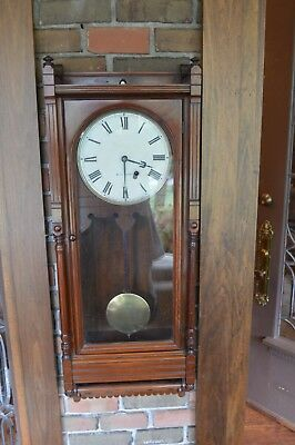 "Antique-Seth Thomas Mahogany ""Queen Anne"" Wall Clock-Ca.1880 Keeps Perfect Time"