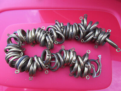 """Antique Curtain Rod Rings Rollers Vintage Art Deco Solid Brass 1920s 70pc 1 1/2"""""""